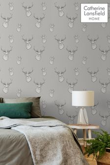 Catherine Lansfield Grey Stag Wallpaper
