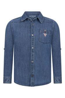 Boys Blue Cotton Denim Shirt