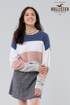 Hollister Navy/Pink Striped Knit Top