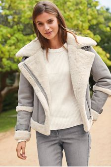Faux Fur Lined Aviator Style Jacket