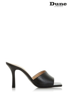 Dune London Mantra Black Leather Square Toe Sandals