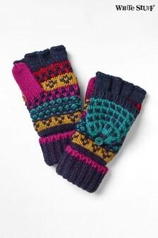 Niebieskie rękawiczki z jednym palcem o grubym splocie White Stuff Amelia