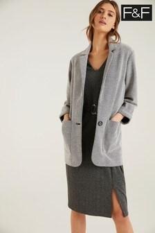 F&F Black/White Textured Blazer Jacket