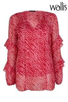 Wallis Pink Animal Print Frill Sleeve Top