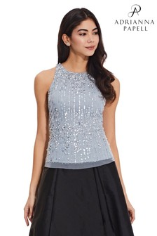 Adrianna Papell Blue Beaded Halter Top