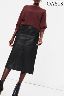Oasis Black Leather Pencil Skirt