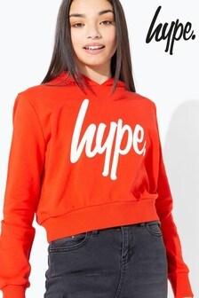 Hype. Red/White Script Kids Crop Hoody