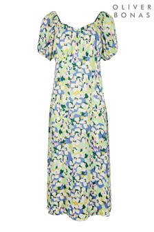 Oliver Bonas Green/Blue Floral Midi Dress