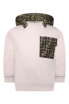 Baby Boys Beige Cotton Hooded Sweater