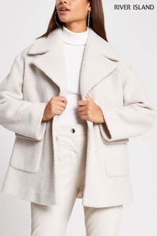 River Island Cream Light Bouclé Swing Coat