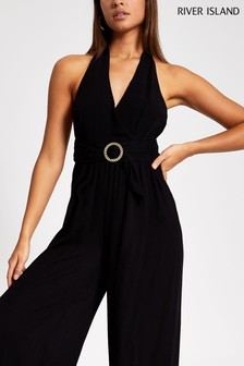 River Island Black Halter Beach Jumpsuit