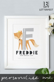 Personalised White Framed Initial Baby Print by Letterfest