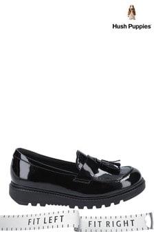 Hush Puppies Black Karen Patent Junior School Shoes