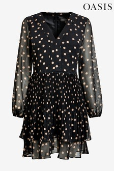 Oasis Black Spot Pleat Skater Dress