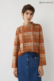 Warehouse Brown Button Shoulder Check Jumper