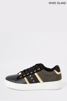 River Island Black Lace-Up Stud Shoes