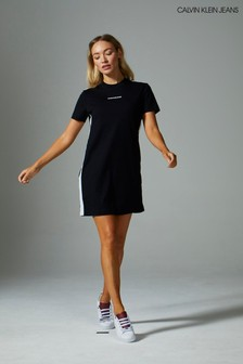 Calvin Klein Black Side Tape T-Shirt Dress