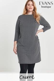 Evans Curve Black Textured Shift Dress