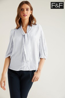F&F Navy Stripe Pussybow Blouse