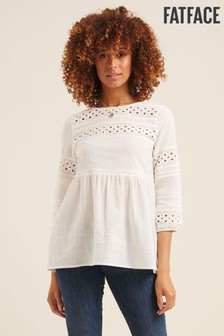 FatFace Natural Alice Broderie Blouse