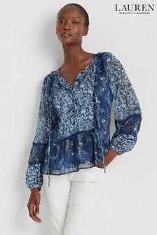 Lauren Ralph Lauren® Blue Paisley Chanan Blouse