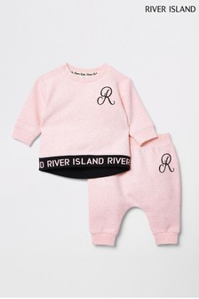 River Island Pink Monogram Sweat Set