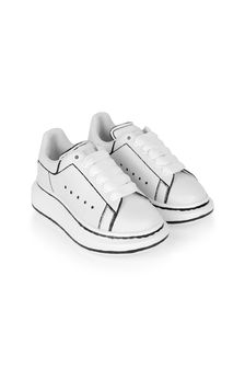 Kids White And Black Leather Lace-Up Trainers