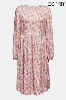 Esprit Pink Viscose Light Woven Dress With Flower Pattern