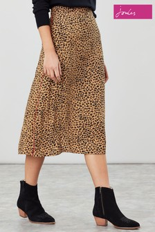 Joules Brown Ria Tan Leopard Print A-Line Skirt