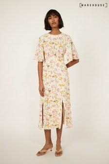 Warehouse Natural Riviera Floral Midi Dress