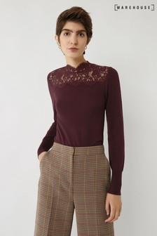 Warehouse Purple Lace High Neck Jumper