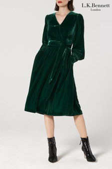 L.K. Bennett Green Roman Velvet Wrap Dress