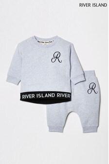 River Island Blue Monogram Sweat Set