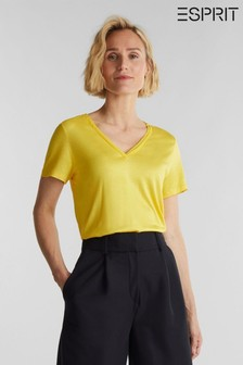 Esprit Yellow Short Sleeved V-Neck T-Shirt