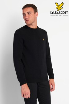 Lyle & Scott Jet Black Marl Crew Neck Lambswool Blend Jumper