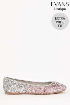 Evans Extra Wide Fit Glitter Ballerina Shoes