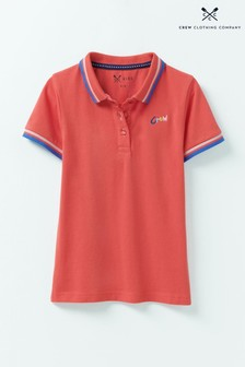 Crew Clothing Orange Classic Fit Pique Poloshirt