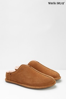 White Stuff Tan Mens Shearling Suede Mules