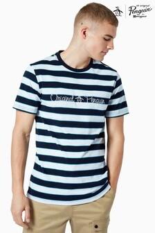 חולצת טי עם לוגו של Original Penguin® דגם Striped Script בכחול