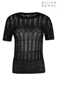 Oliver Bonas Black Lacy Stitch Knitted Top