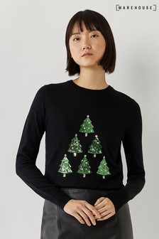 Warehouse Black Christmas Tree Jumper