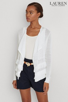 Lauren Ralph Lauren® White Fringed Claresta Cardigan
