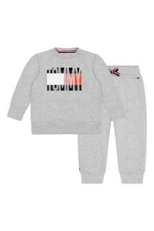Baby Boys Grey Cotton Logo Tracksuit