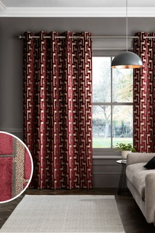 Red Collection Luxe Fretwork Velvet Eyelet Lined Curtains