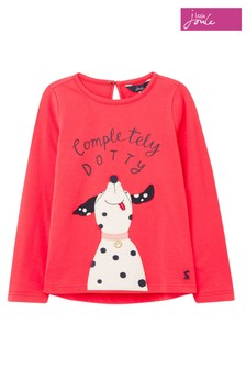 Joules Red Ava Dog Appliqué T-Shirt