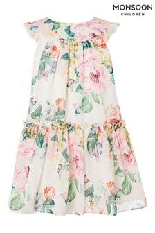 Monsoon Baby Roseanna Rose Print Chiffon Dress