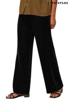 Whistles Black Side Button Velvet Trousers