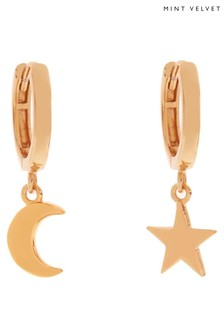Mint Velvet Rose Gold Tone Star & Moon Hoops