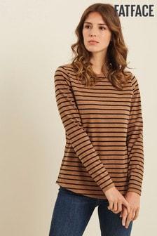 FatFace Brown Organic Cotton Breton T-Shirt