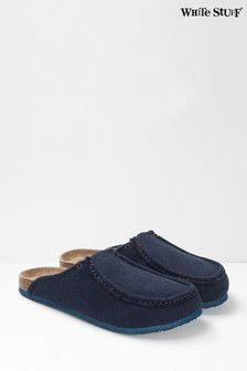 White Stuff Blue Mens Moccasin Slippers